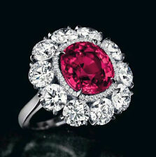3ct Cocktail Party Ring Solid 925 Sterling Silver Red Round Halo Solitaire Cz Nw