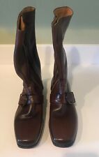 Vintage Rare New French Shriner Mens Boots With Zipper Buckle Size 10B Brown