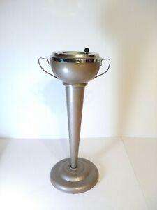 """1960's Stand up Cigar Cigarette Lounge Ashtray Chrome Brown Metallic21"""" Tall"""