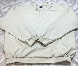Nike Golf 1/4 Snap Pullover Windbreaker Shirt Jacket Men's Large Beige Unlined