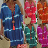 Womens Plus Vneck Tunic Dress Casual Loose Pullover Tie Dye Print Mini Dress