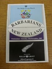 25/11/1989 Rugby Union Programme: Barbarians v New Zealand [At Twickenham]. Than