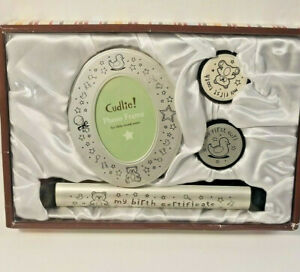 Cudlie! Decor Silver Tone Baby Keepsake Set NIB Baby Gift Set Frame NEW