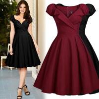 Women's Midi Retro Sweetheart A-Line Swing Dress, Cap Sleeve
