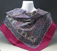 """LIBERTY OF LONDON  MADE IN ENGLAND ALL SILK PAISLEY MAGENTA BORDER SCARF 34"""""""