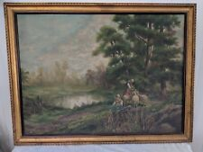 """Large Gorgeous Landscape with Sheep Girls Pastel Oil on Canvas 37"""" by 28"""""""