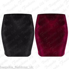 Ladies Women's Elasticated Stretchy VELVET Bodycon Short Tunic Mini Skirt 8-14
