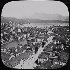 Glass Magic Lantern Slide CITY OF LUCERNE AND THE RIGI C1900 PHOTO SWITZERLAND