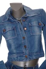MISS SIXTY Distressed Cropped Jean JACKET Denim Coat Faded Worn Look Womens S