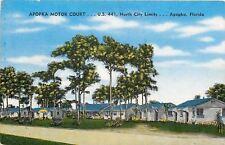 Apopkka Florida~Apopka Motor Court Near Bass Lake~1940s Postcard