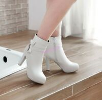 Cute Women's Ankle Boots Zip Leather Round Toe Bowknot High Block Heels Plus Siz