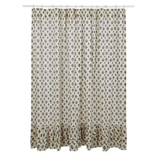 New French Country Shabby FLEUR DE LIS Black Ruffled Fabric Shower Curtain