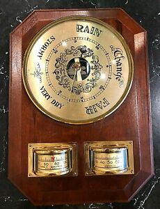"Vintage Wooden Barometer/Thermometer/Hygrometer Made In France 10"" x 7"""