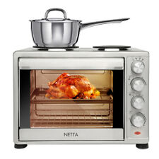 NETTA Electric Mini Oven With Hob Hotplate 1600W 45L Cooker Baking Cooking