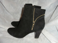 GEOX RESPIRA WOMEN'S BLACK SUEDE LEATHER ZIP UP  ANKLE BOOT SIZE UK 6 EU 39 VGC