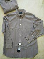 Polo Ralph Lauren Men's Poplin Classic Fit Brown Gingham Shirt XL Free Ship NWT