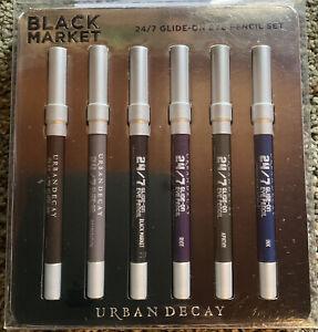 NIB Urban Decay Black Market 24/ Glide On Pencil Set 6