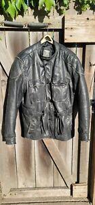Hein Gericke Paris Dakar Leather Trashed Motorcycle Jacket BLACK sz 46