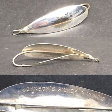 "Antique Vintage Johnson's Silver Minnow 3"" Fishing Lure Pat 8-28-23"