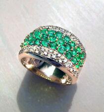 Emerald AAA Ring 585 Yellow gold 1,55 Carat white Diamonds New Gold jewellery