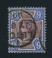 GB - QV - 1887 - SG209 9d DULL PURPLE & BLUE CANCELLED LUTON THIMBLE DATE STAMP