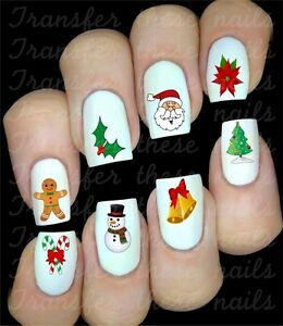 Noël Santa Christmas Stickers autocollant ongles manucure nail art water decal