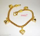 Heart 22K 23K 24K THAI BAHT YELLOW GOLD GP Charm Bracelet New Women Jewelry 6.5
