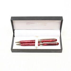 VTG Pierre Cardin Ballpoint Pen Pencil Set Twist Red Acrylic Brass Trim