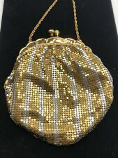 Vintage Koret Deb Gold & Silver Striped Mesh Bag Handbag Purse -Mint!