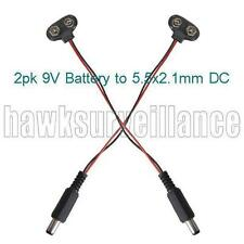 2pk 9V Battery snap-on to 5.5x2.1mm DC Power connection cables (CP12)