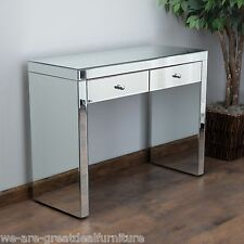 Indoor Furniture Jacinda Modern Design Mirrored 2-Drawer Accent Console Table