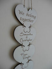 Personalised Family Sign Names Large Wooden Heart Puzzle Plaque Shabby Home