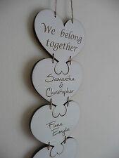 Personalizados Familia signo nombres Grande De Madera Corazón Puzzle Placa Shabby Casa