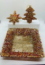 """8"""" Square Handmade Sparkly Beaded Basket W/2 Matching Ornaments. Gold/Red/Pur"""