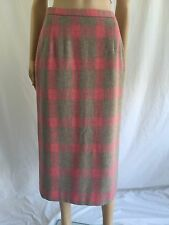 Vintage Pendleton Wool Pink Plaid Long Pencil Skirt Size 8P 28X33 Calf Leng Mint