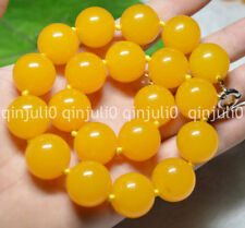 20'' Huge 20MM Natural South America Topaz Yellow Gems Ball Beads Necklace JN632