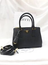 NEW Prada Saffiano Lux Double Zip Tote Shoulder Bag Handbag 1BA896, Black $1850