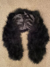 BLACK FEATHER SCARF TOWIE WINTER CHELSEA CELEB LUXURY GLAM CHIC EVENING FIT WEAR