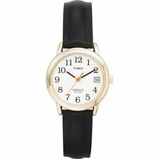 Timex T2H341, Easy Reader, Women's, Black Leather Strap Watch, Indiglo, Date
