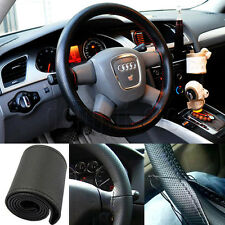 Cool Black Car Leather Steering Wheel Cover With Needles and Thread DIY 38cm Hot