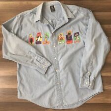 88a1f75bd5 Vtg Warner Brothers Studio Store Looney Tunes Denim Shirt Button Mens XL  fit L