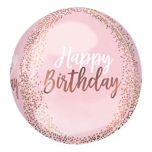 "AMSCAN HAPPY BIRTHDAY BLUSH PINK & GOLD 15"" ROUND ORBZ FOIL BALLOON"