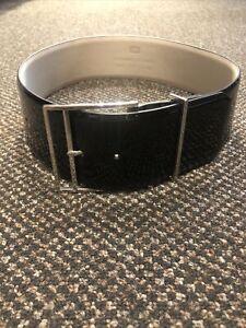 Cue Black Patent Leather Waist belt Size Small