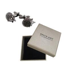 Mens Hedgehog With Crystal Eyes Cufflinks & Gift Box By Onyx Art