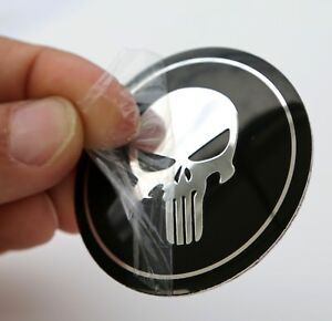 "3D DOME SHAPE Metal Skull Punisher Auto Sticker Decal Emblem 2.2"""