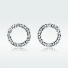 New 925 Sterling Luminous Forever Round Circle Push-back Stud Earrings for Women