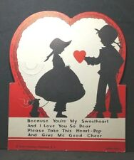 Vintage Die Cut Heart Pop Valentine Card Because You'Re My Sweetheart & I Love