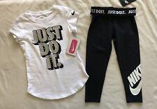 Bundle NIKE Little Girls Short Sleeve T-Shirt and Leg-a-See Leggings - 5 (S)