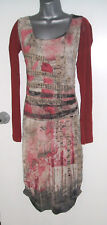NEW STUNNING PINK BURGUNDY LAGENLOOK SAVE THE QUEEN LEGATTE JEANS DRESS 12