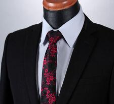 Rose Red & Black Floral Paisley Wedding Tie in Silk
